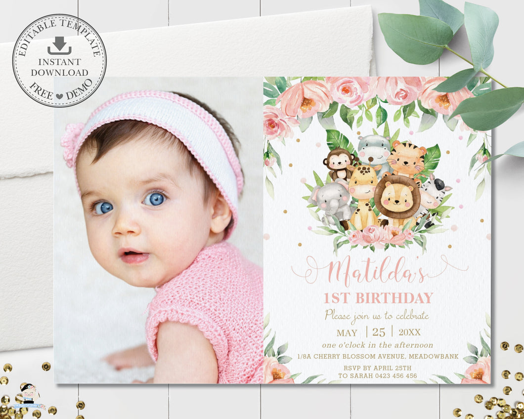 Cute Pink Floral Jungle Animals Birthday Photo Invitation - Editable Template - Digital Printable File - Instant Download - JA3