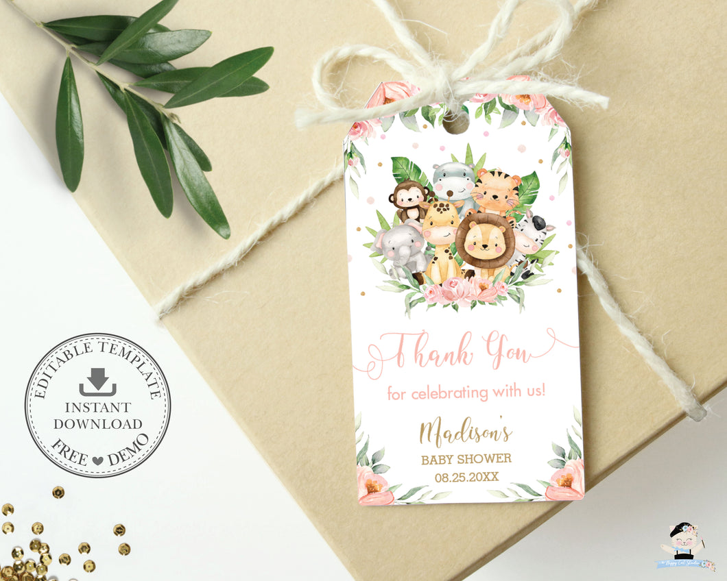 Cute Pink Floral Jungle Animals Birthday Baby Shower Thank You Favor Tags - Editable Template - Digital Printable File - Instant Download - JA3