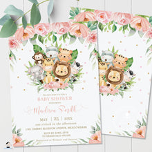 Load image into Gallery viewer, Cute Pink Floral Jungle Animals Baby Shower Invitation - Editable Template - Digital Printable File - Instant Download - JA3