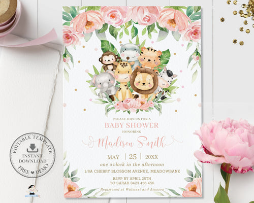 Cute Pink Floral Jungle Animals Baby Shower Invitation - Editable Template - Digital Printable File - Instant Download - JA3