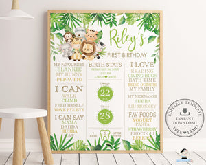 Cute Jungle Animals Greenery 1st Birthday Milestone Sign Birth Stats Editable Template - Instant Download - Digital Printable File - JA2