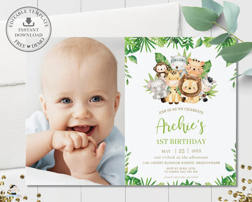 Cute Greenery Jungle Animals Safari Birthday Photo Invitation - Editable Template - Digital Printable File - Instant Download - JA2