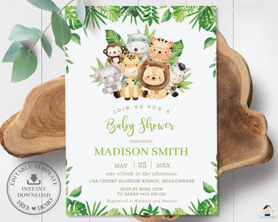 Cute Greenery Jungle Animals Safari Baby Shower Invitation - Editable Template - Digital Printable File - Instant Download - JA2