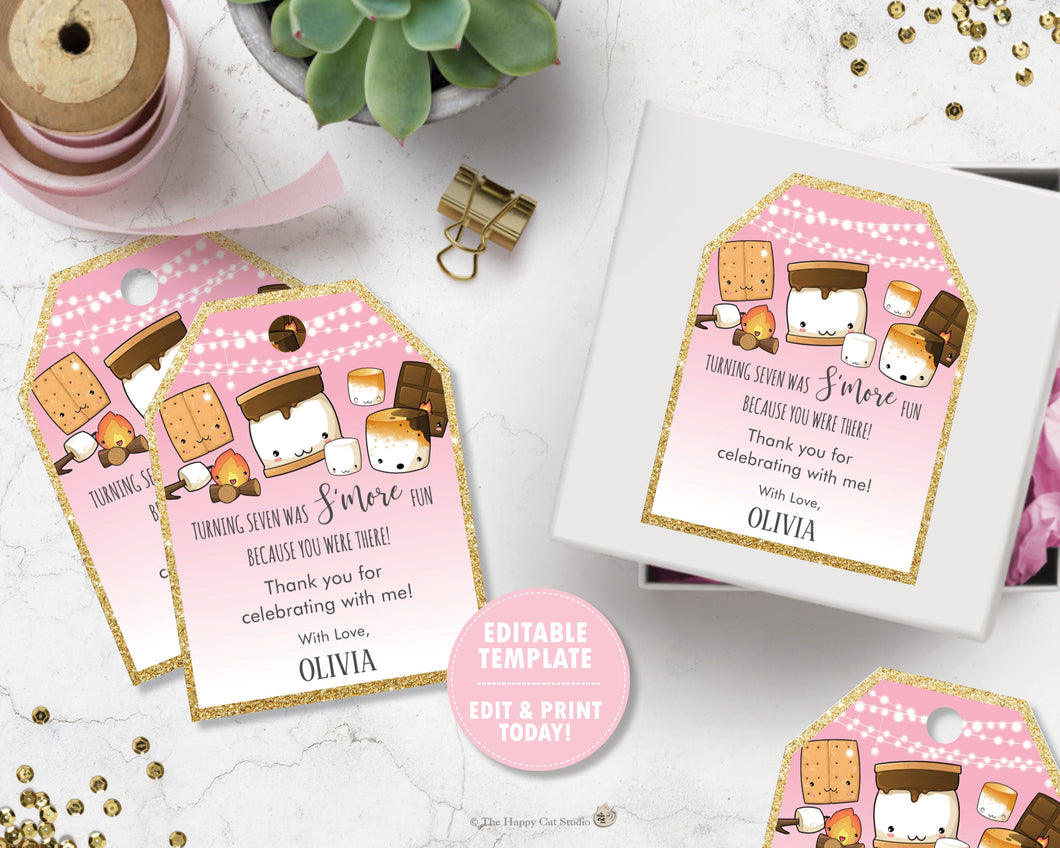 Cute Kawaii S'mores Birthday Thank You Favor Tags Editable Template - Digital Printable File - Instant Download - KW1