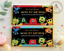 Load image into Gallery viewer, Vibrant Cute Monsters Birthday Hershey's Aldi Chocolate Wrapper Editable Template - Digital Printable File - Instant Download - ME1