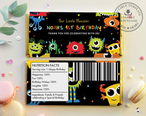 Vibrant Cute Monsters Birthday Hershey's Aldi Chocolate Wrapper Editable Template - Digital Printable File - Instant Download - ME1