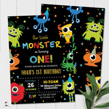 Load image into Gallery viewer, Vibrant Cute Cartoon Monsters Birthday Invitation Editable Template - Digital Printable File - Instant Download - ME1