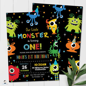 Vibrant Cute Cartoon Monsters Birthday Invitation Editable Template - Digital Printable File - Instant Download - ME1