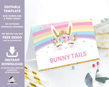 Load image into Gallery viewer, Rainbow Princess Bunny Rabbit Food Tents Place Cards Editable Template - Instant Download Digital Printable File - CB5