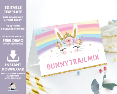 Rainbow Princess Bunny Rabbit Food Tents Place Cards Editable Template - Instant Download Digital Printable File - CB5