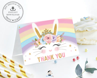 Cute Princess Bunny Rabbit Tent Style Thank You Card - Instant Download Digital Printable File - CB5