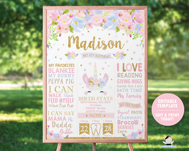 Cute Unicorn Pastel Floral 1st Birthday Milestone Sign Birth Stats Poster - Editable Template Digital Printable File - Instant Download - UB7