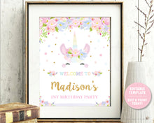 Load image into Gallery viewer, Cute Unicorn Pastel Floral 1st Birthday Welcome Sign - Editable Template Digital Printable File - Instant Download - UB7
