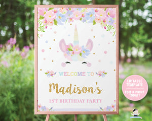 Cute Unicorn Pastel Floral 1st Birthday Welcome Sign - Editable Template Digital Printable File - Instant Download - UB7