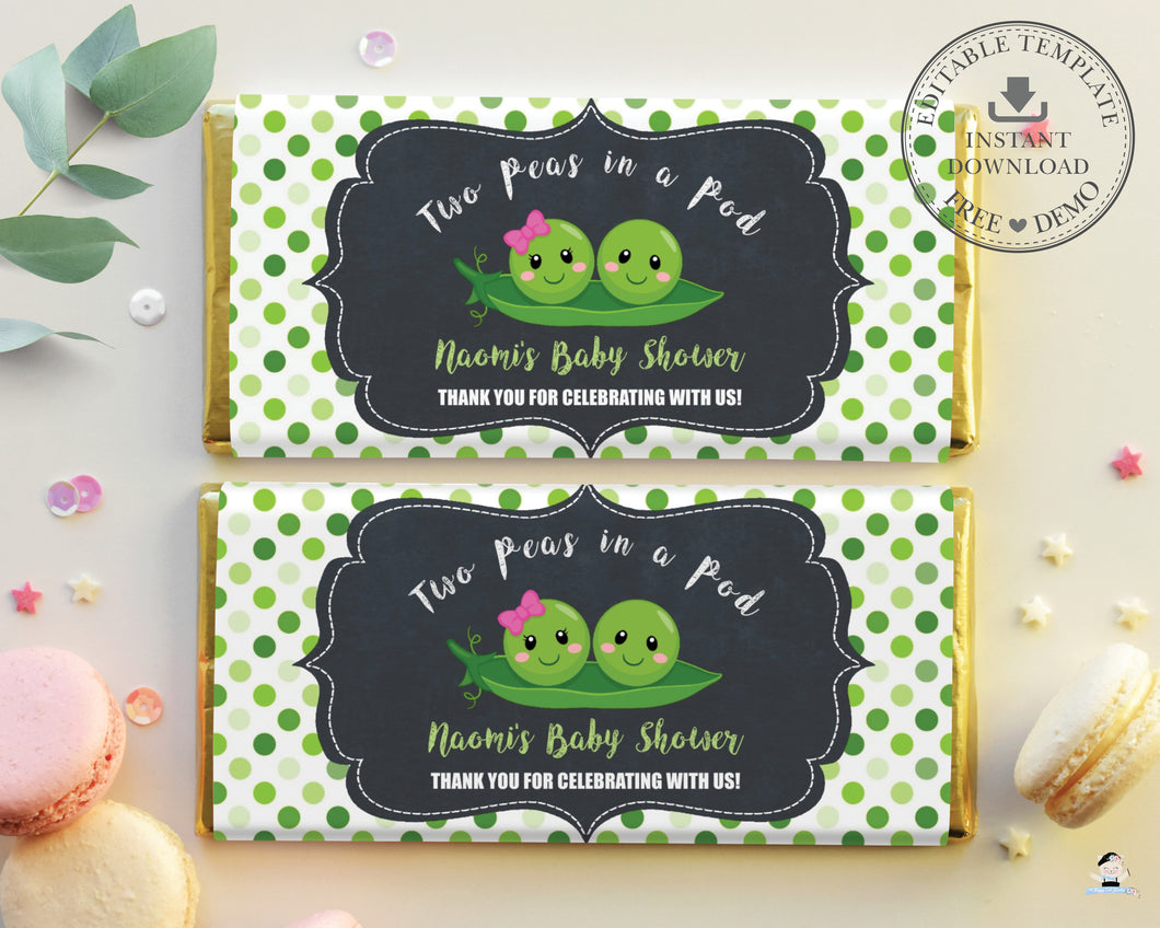 Cute Twins Boy Girl Two Peas in a Pod Chocolate Bar Wrapper Aldi Hershey's Editable Template - Digital Printable File - Instant Download - PB1