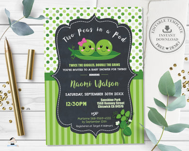 Cute Two Peas in a Pod Twins Boy Girl Baby Shower Invitation Editable Template - Digital Printable File - Instant Download - PB1