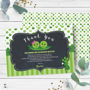 Cute Two Peas in a Pod Twins Boy Girl Baby Shower Thank You Card Editable Template - Digital Printable File - Instant Download - PB1