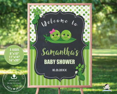 Two Peas in a Pod Twins Girl Boy Baby Shower Welcome Sign Editable Template - Instant Download - Digital Printable File - PB1