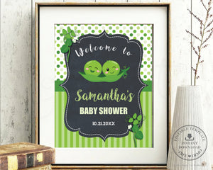 Two Peas in a Pod Twin Boys Baby Shower Welcome Sign Editable Template - Instant Download - Digital Printable File - PB1