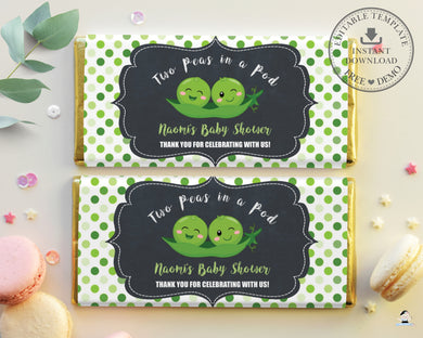 Cute Twins Boys or Gender Neutral Two Peas in a Pod Chocolate Bar Wrapper Aldi Hershey's Editable Template - Digital Printable File - Instant Download - PB1