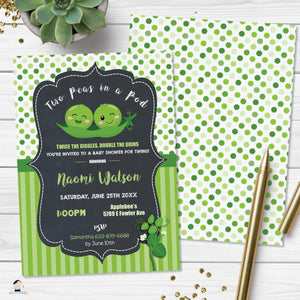 Cute Two Peas in a Pod Twins Gender Neutral Boys Baby Shower Invitation Editable Template - Digital Printable File - Instant Download - PB1