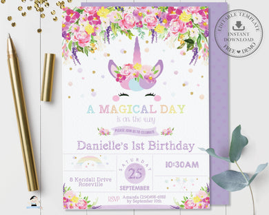 Purple Floral Cute Unicorn Birthday Party Invitation Editable Template - Instant Download - Digital Printable File - UB9