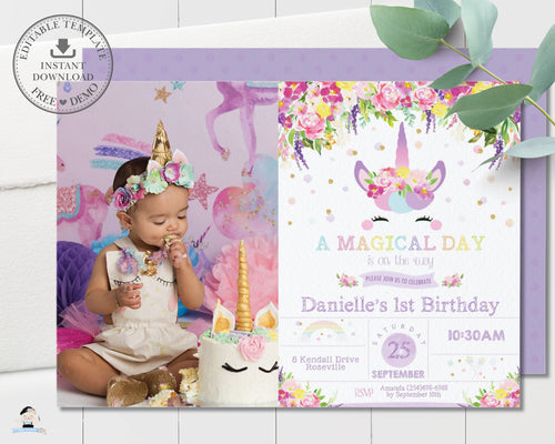 Purple Floral Cute Unicorn Birthday Party Photo Invitation Editable Template - Instant Download - Digital Printable File - UB9