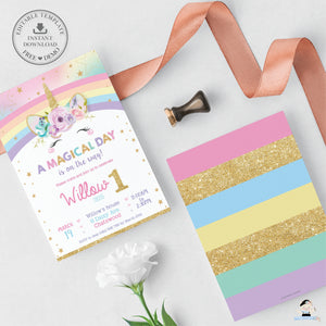 Cute Happy Unicorn Birthday Party Invitation Editable Template - Digital Printable File - Instant Download - RU2