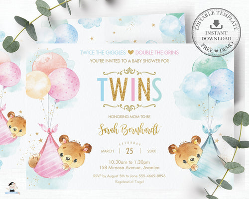 Cute Baby Bears Baby Shower Invitation Twins Baby Boy and Girl  - Editable Template - Instant Download - TB5
