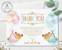 Load image into Gallery viewer, Cute Teddy Bears Twins Boy Girl Thank You Card Editable Template - Instant Download Digital Printable File - TB5