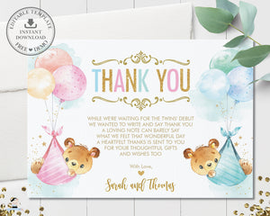 Cute Teddy Bears Twins Boy Girl Thank You Card Editable Template - Instant Download Digital Printable File - TB5