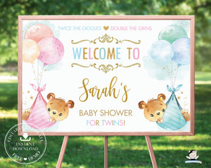 Cute Bears Twins Boy Girl Baby Shower Welcome Sign Editable Template - Instant Download - Digital Printable File - TB5