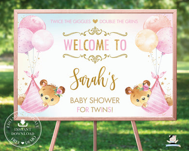 Cute Teddy Bears Twin Girls Baby Shower Welcome Sign - Editable Template - Digital Printable File - Instant Download - TB5