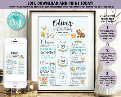 Cute Woodland Animals Blue Boy 1st Birthday Milestone Sign Birth Stats - Editable Template - Digital Printable File - Instant Download