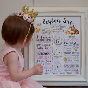 Cute Woodland Animals Pink Girl 1st Birthday Milestone Sign Birth Stats - Editable Template - Digital Printable File - Instant Download