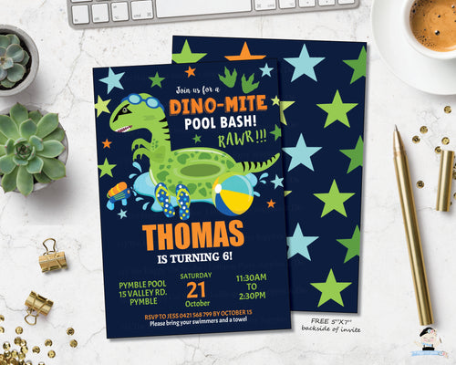 Dinosaur Pool Birthday Party Personalized Invitation - Instant EDITABLE TEMPLATE - DP1