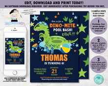 Load image into Gallery viewer, Dinosaur Pool Birthday Party Personalized Invitation - Instant EDITABLE TEMPLATE - DP1