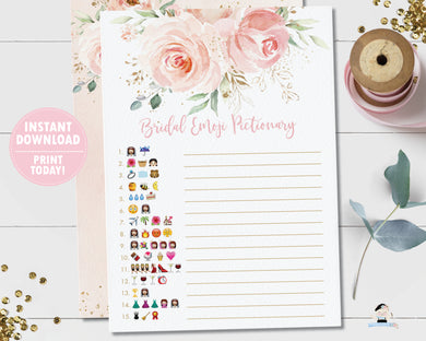 Chic Blush Pink Floral Gold Bridal Shower Emoji Pictionary Game - Instant Download - Digital Printable File - PK5