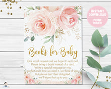 Load image into Gallery viewer, Blush Pink Floral Bring a Book Instead of a Card Insert - Instant Download - Digital Printable File - PK5
