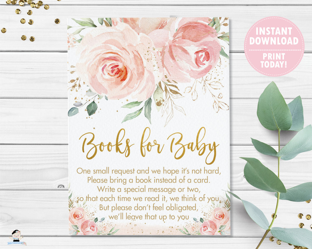 Blush Pink Floral Bring a Book Instead of a Card Insert - Instant Download - Digital Printable File - PK5