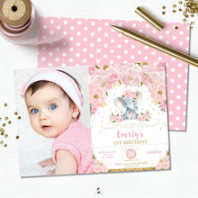 Load image into Gallery viewer, Elephant Blush Pink Floral Birthday Party Invitation with Photo - Editable Template - Instant Download Digital Printable File - EP5