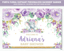 Load image into Gallery viewer, Elephant Purple Floral Baby Shower Birthday Backdrop Welcome Banner - Digital Printable File - Instant Download - EP9