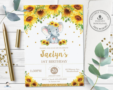 Cute Baby Elephant Sunflower Floral Birthday Invitation Editable Template - Digital Printable File - Instant Download - EP8