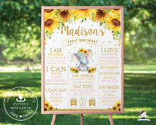 Load image into Gallery viewer, Chic Sunflower Elephant 1st Birthday Milestone Sign Birth Stats - Editable Template - Digital Printable File - Instant Download - EP8