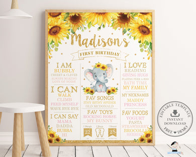 Chic Sunflower Elephant 1st Birthday Milestone Sign Birth Stats - Editable Template - Digital Printable File - Instant Download - EP8