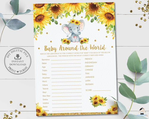 Sunflower Elephant Baby Around The World Baby Shower Fun Game Activity - Instant Download - Digital Printable File - EP8