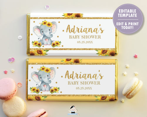 Sunflower Elephant Chocolate Bar Wrappers for Aldi and Hershey's Chocolate Bars - DIY EDITABLE TEMPLATE Digital Printable File - INSTANT DOWNLOAD - EP8