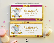 Load image into Gallery viewer, Sunflower Elephant Chocolate Bar Wrappers for Aldi and Hershey's Chocolate Bars - DIY EDITABLE TEMPLATE Digital Printable File - INSTANT DOWNLOAD - EP8