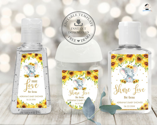 Chic Sunflower Floral Elephant Hand Sanitizer Lotion Favor Labels Stickers Editable Template - Digital Printable File - Instant Download - EP8