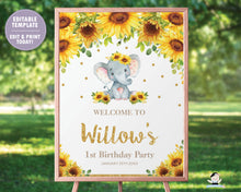 Load image into Gallery viewer, Sunflower Elephant Baby Shower / Birthday / Christening Welcome Sign - EDITABLE TEMPLATE Digital Printable File - INSTANT DOWNLOAD - EP8